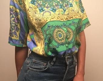 "Vintage ""versace"" print 100% silk shirt"