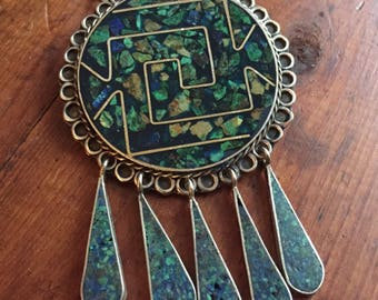 Turquoise inlay vintage mexican brooch pendant necklace signed Carlos