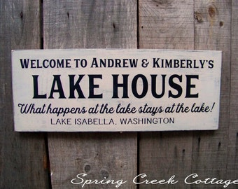 Wood Signs, Lake House Decor, Custom Sign, Personalized Signs, Handpainted, Lake House, Housewarming Gift, Rustic, Made To Order
