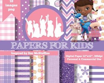 Digital Papers, Doc McStuffins, Clipart, Background, Birthday, Girls, Papers for Kids