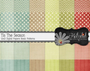 Christmas Shabby Tis The Season Basic Digital 12x12 Basic Holiday Seasonal Papers and Backgrounds for INSTANT DOWNLOAD