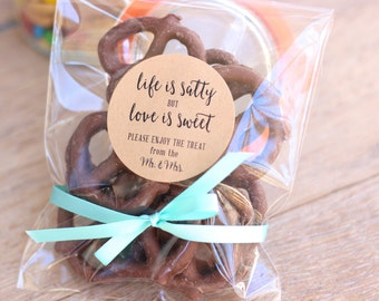 Life is Salty-Love is Sweet Wedding Favor Stickers. Sweet. Salty. Love. Wedding-Shower-Engagement Favors. 20 Stickers