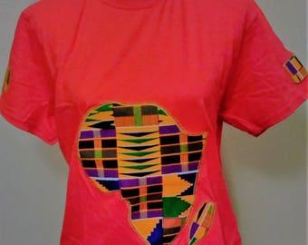 African T-Shirt/Map of Africa T-Shirt/ Kente T-Shirt/African Print Tees/Africa Map Kente Shirt