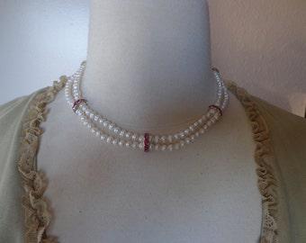 Artisan Handmade 2-Strand White Freshwater Pearl Necklace w/ Pink Swarovski Elements Rhinestone Spacer Bars