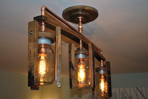 Mason Jar Light Fixture Whiskey Barrel Light Fixture Triple