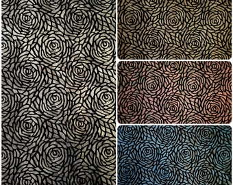 Big Rose Pattern 2 Tone Matte Foil on Stretch Velvet Polyester Spandex Fabric - 58 to 60 Inches Wide - By the Yard or Bulk