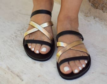 """Luxurious leather sandals """"Blossom"""". Make a difference with these feminine strappy sandals in gold-black color"""
