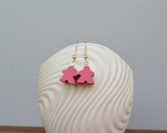 Pink mini Carcassonne meeple earrings with nickel-free silverplated earwires