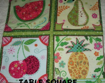 TABLE SQUARE, MUG Mats, Snack Mats, Fruits, Quilt,  Home  Décor, Table Décor,  Hostess Gift, Gifts for Women, Mothers Day, Birthday