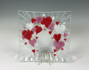Fused Glass Hearts, Serving Dish,  Valentine's Day, Red Heart, Valentine Decor, Cheese Plate