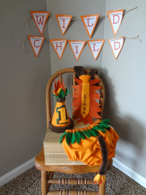 First Birthday Cake Smash Outfit Jungle And Lion Themed Orange