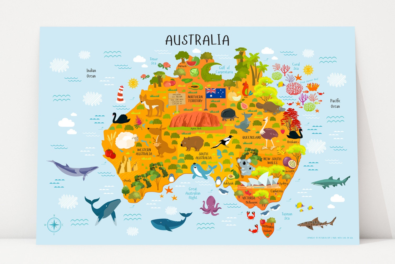 Australia Map Australian Animals Nursery Decor Kids Gift
