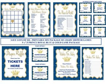 Blue Prince Baby Game, Printable Prince Baby Shower Game, Royal Blue Gold Baby Game, Prince Bingo, Prince Raffle - Printables 4 Less 0112
