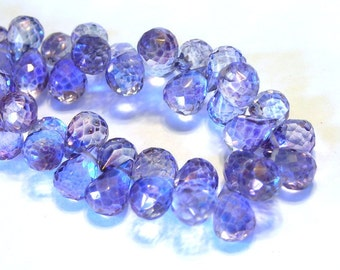 Mystic quartz purple faceted drops 6 pieces