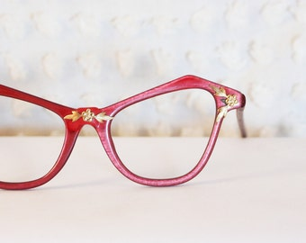 Ruby Red Cat Eye 1950's Eyeglasses Gold Flower Applique Squared Frame Dead Stock by Victory Optical