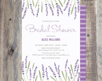 Lavender Bridal Shower Invitation, Printable PDF or Jpeg