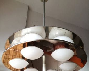 Oma chrome disc opaline glass chandelier label  6 luci Made in Italy 1970s