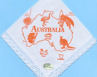 Ladies Australia Orange Print Irish Linen Handkerchief =-Cotton Lace surrounds