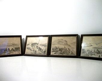 CIVIL WAR 4 Battle Scenes - Fine Art Framed Historical Prints Antique Engraving Artwork Print