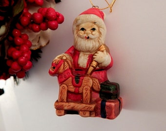 Santa Claus Ornament Ceramic Toy Shop Figurine Vintage Christmas Decoration