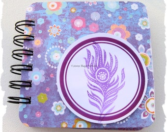 PEACOCK Feather - Purple - Post It Note Holder Planner \/ Cover