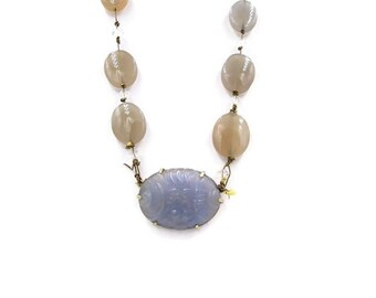 Vintage 14k Lavender Jade Necklace - 14k Hand-tied Jade & Chalcedony Crystal Bead necklace - 14k Jade Necklace