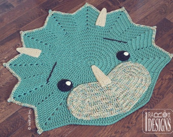 CROCHET PATTERN Cera Tops The Triceratops Dino Rug Nursery Mat Carpet PDF Crochet Pattern with Instant Download