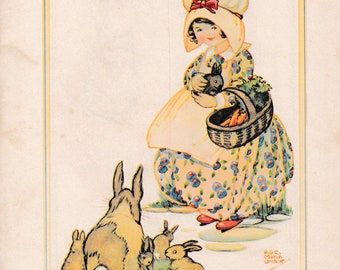 """Children's book illustration by H.G.C. Marsh Lambert, """"Feeding the Bunnies"""", published 1950s, book print"""