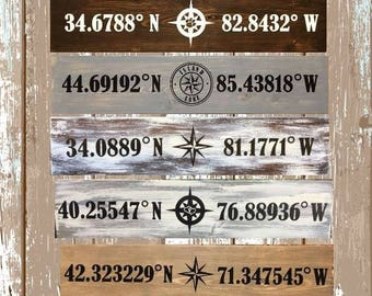 Where is your Happy Place - Longitude Latitude Custom Coordinates Wood Sign
