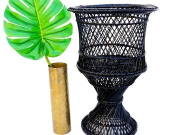 Mid-Century Black Woven Rattan Fern/Plant Stand   Vintage Boho Chic Home Décor