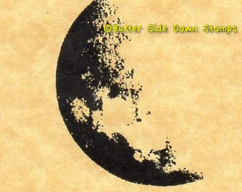 Gibbous Moon Rubber Stamp