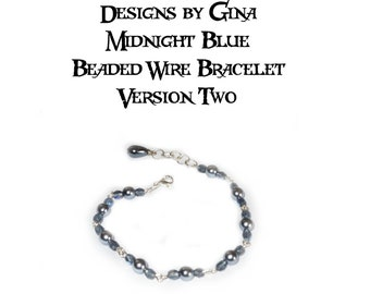 Midnight Blue Beaded Silver Tone Wire Bracelet - Version 2 - DG0031B2 Handmade Handcrafted Original Designs by Gina