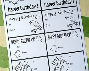 Gift Tags Set, Little Birds, PDF Printable, Black & White OR Color OR Color-It-Yourself