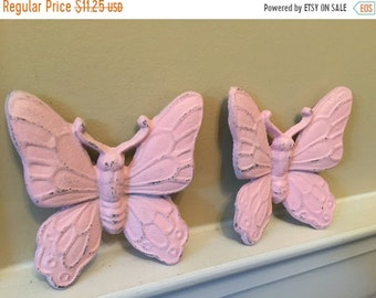ON SALE, SPRING Sale Butterflies/ Cast Iron Wall Decor/ Pink Butterfly/Nursery Decor/ Cast Iron Butterflies/ Wall Decor/ Home and Garden Dec