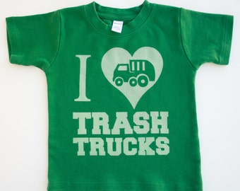 I Love Trash Trucks Toddler shirt, Ink Free Boys Shirt, High Quality, Free shipping, click for colors