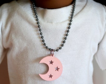 "18 Inch Doll Jewelry, 18"" Doll Necklace, Handmade, Gray Ball Chain Doll Necklace with Pink Wood Moon and Stars Charm, Magnet Closure"