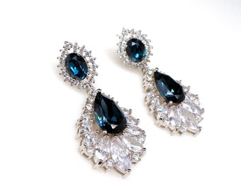 wedding jewelry bridal statement bridesmaid prom pageant earrings Clear teardrop AAA cubic zirconia navy or green rhinestone on oval cz post