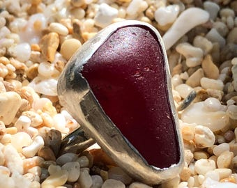 Red Sea glass ring