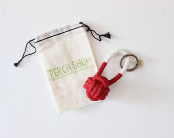 Rope Knot Keychain / holiday red