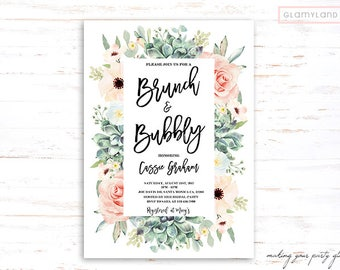 Floral succulent Brunch & Bubbly Bridal Shower Invitation, rustic bridal shower, boho bridal shower invitation, blush succulent anemone