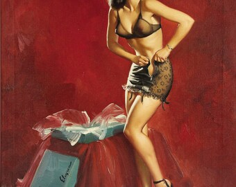 Pin Up Girl Art Print Reproduction, must be going to waist - waisted effort 1946 by Gil Elvgren