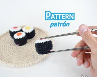 Maki, patrón maki, patrón sushi, amigurumi, patrón amigurumi, amigurumi kawaii, comida amigurumi, patrón crochet, llavero kawaii, llavero
