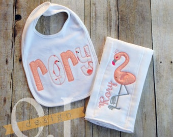 Personalized Burp Cloth and Bib -  Blush Pink Flamingo - Baby Shower Gift - Newborn Gift - Baby Flamingo - Name Burp Cloth - Name Bib