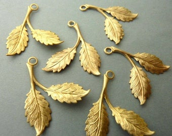 6 Brass Two Leaf Rose Branch - Three Matching Pairs
