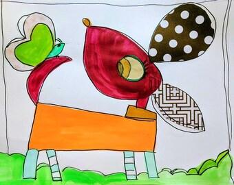 Happy Puppy And Butterfly Folk Art Happy Art Kids Art 11x14 Mixed Media on Watercolor Paper Original Nursery Art Fun Art