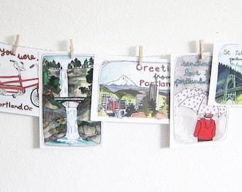 Postcards - Portland Postcards - Set of Postcards - Illustrated Cards - Portland Oregon - Illustrated Portland - Set of 8 Portland Postcards