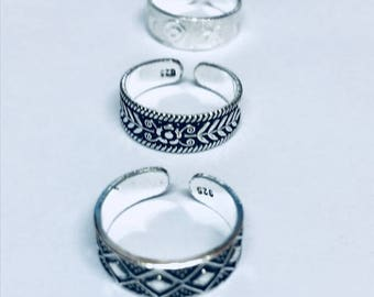 3 x sterling Silver Diamond,Leaf and Swirl and Star toe rings