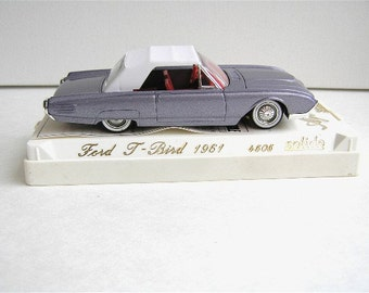 Vintage collectible Ford 1961 T-bird, Solido 4505, eggplant mauve colour, convertible