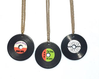 Classic Reggae Record Jewelry Charm Necklaces (Choose Style)