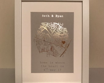 """Unframed A4 """"home is where the heart is"""" Foil Map Print"""